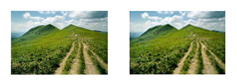 Sur l'image à droite, qui est en basse définition, on peut remarquer l'effet de pixellisation.