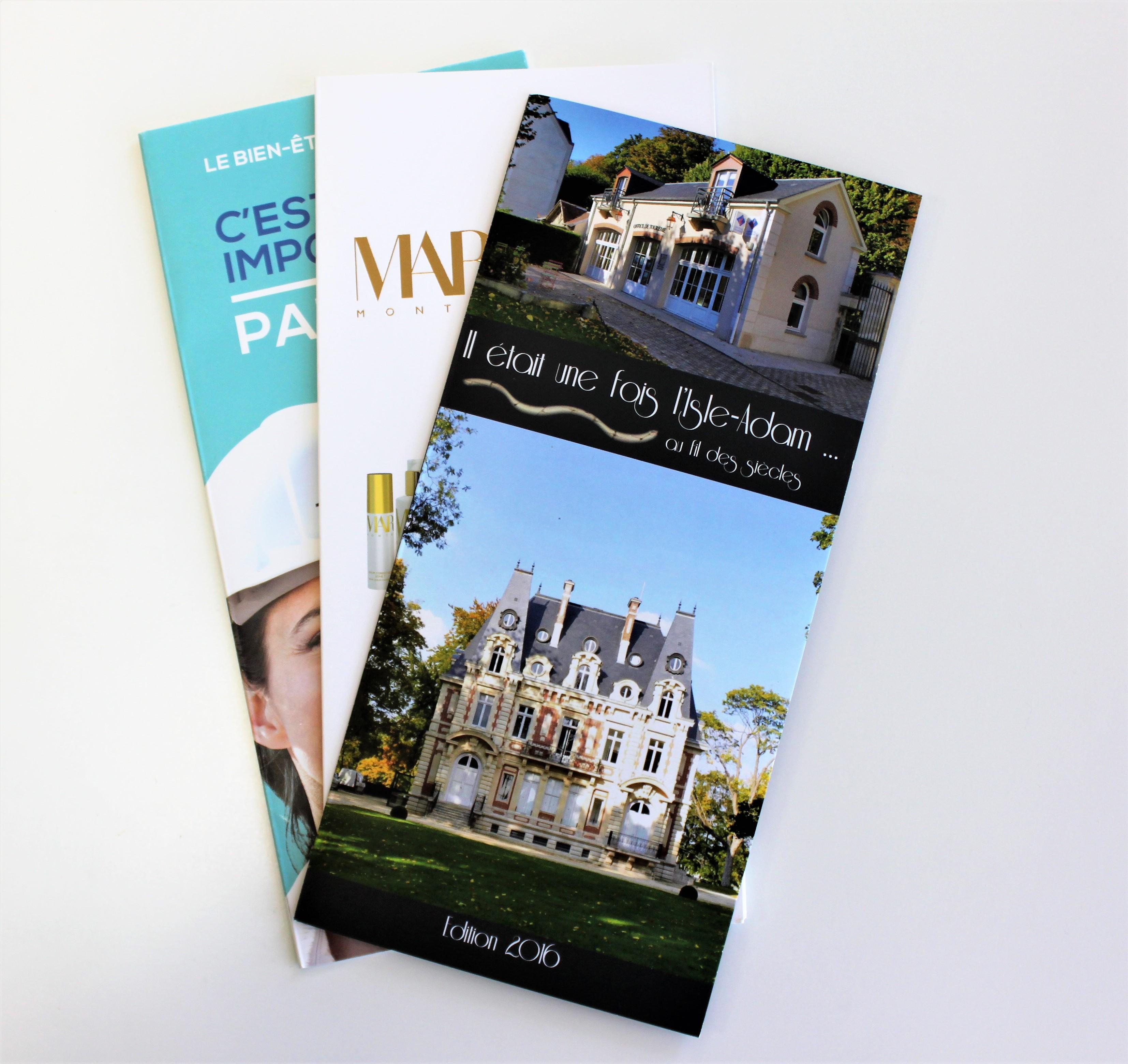 Formats pratiques, multiple choix plis, la communication imprimée, parfait pour les salons